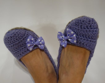 Womens Slippers Girls Slippers Crochet Slippers Slippers With Eco Linen Soles Ready to ship Violet Slippers with Bow