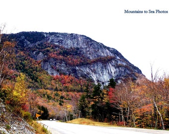 White Mountains, New Hampshire, 5x7 landscape photo, country home decor, fall foliage, mountain view, rustic wall art, autumn leaves