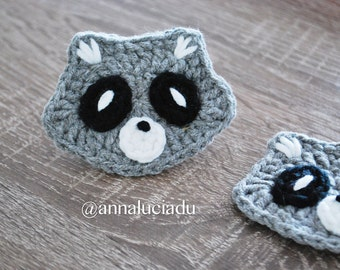 Forest Friends - raccoon,Raccoon crochet , raccoon pattern, crochet patterns, crochet appliques, crochet woodland  PDF Instant Download