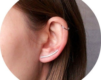 Ear crawler earrings, sterling silver, ear crawler,  gold plate, rose gold plate - on top of sterling silver