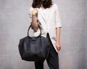 Black leather bag - Soft leather tote bag - Nina bag