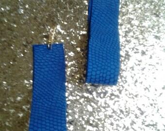 Large loop blue leather earrings