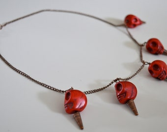 Red Howlite Skull Necklace -- Antique Brass Chain - Red -- Turquoise