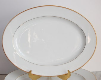 Noritake Oval Plate - Noritake Dawn Oval Serving Platter - White and Gold China Plate