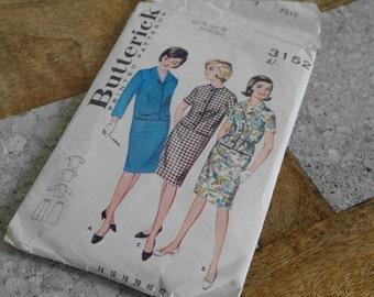 Butterick Pattern 3152, Two Piece Dress Sewing Pattern, Size 16, Circa 1950