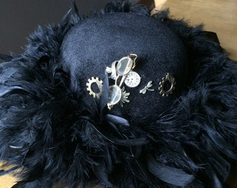 STEAMPUNK Black Charmed Feather  Bowler Hat