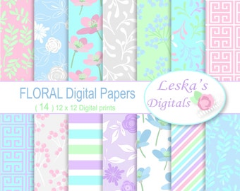 FLORAL DIGITAL BACKGROUND, Digital Paper , Floral pastel digital paper pack, Flower Digital Papers, Scrapbook paper pack of floral pastel