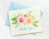 Watercolor Floral Thank you Card Set of 8, Illustrated Flowers Thank You Cards, Wedding Thank You Cards