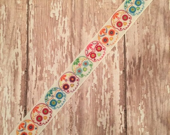 "5 yards of 7/8"" sugar skull grosgrain ribbon"