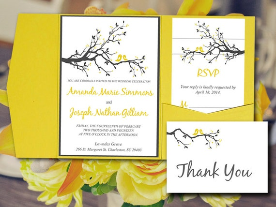 Bird Wedding Invitation: Love Bird Pocketfold Wedding Invitation Template Set