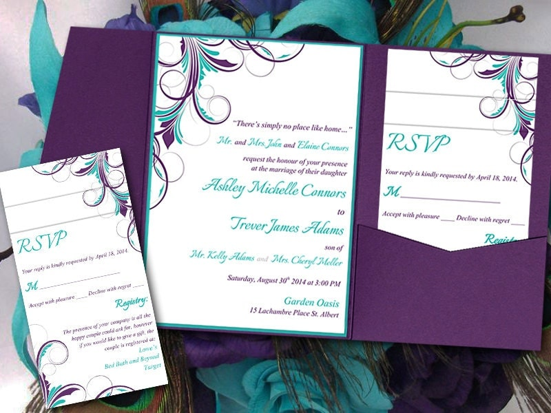 peacock pocketfold wedding invitation template set teal With peacock pocketfold wedding invitations