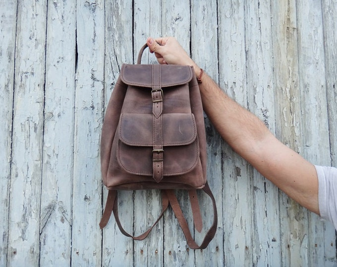 Featured listing image: Waxed Leather Small Backpack / Brown Color/Water repellent/ Full Grain Leather / Unisex Greek Backpack Bag