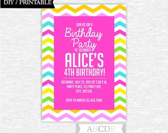 Pink, Yellow, Green, Blue Girl Birthday invitation Chevron DIY Printable (PDSDCH023)