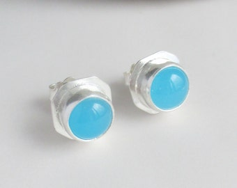 Aqua colour chalcedony 8mm round cabochon handmade designer framed style sterling silver stud earrings