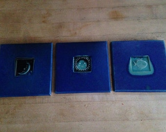 3 handmade cobalt blue tiles from Abacus Gallery, Maine
