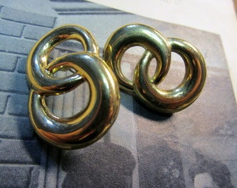 Vintage Gold NAPIER© Double Circle Post Earrings