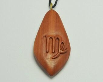 Zodiac Virgo Necklace, Sabo Wood Virgo Pendant, Wooden, Wooden Virgo Necklace, Hand Carved Wood