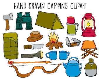 Camping Clipart - Adventure Clip Art - Hand drawn clipart doodles
