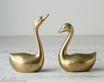 2 Vintage Brass Swans - Gold Bird Statues - Brass Home Decor