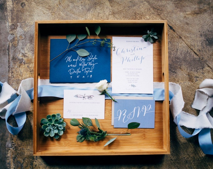 5x7 Navy Earthy Greenery Natural Wood Wedding Invitation and RSVP. Customize this Invite with Your Colors!