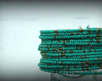 Cuff Bracelet in turquoise and gilt beads. Bracelet Bohemia, Gipsy