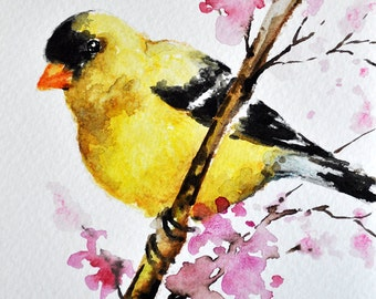 ORIGINAL Watercolor Greeting Card, Goldfinch With Pink Flowers, Handmade Greeting Card 4x6 inch