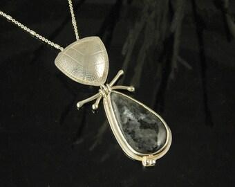 Norwegian Blue Moonstone and Oak pendant