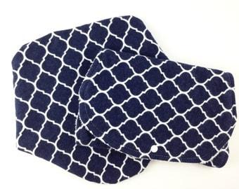 Navy Quatrefoil Baby Bibs and Burp Cloths -  Newborn Baby Girl Gift Set - Bib and Burp Cloth Set - Bibs and Burp Cloths - Burp Cloth Set