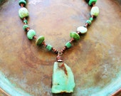 Chrysoprase necklace, Turquoise necklace, boho chic necklace, southwestern necklace, green turquoise necklace, rustic jewelry