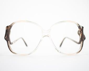Vintage Eyeglass Frame | Clear Brown | Oversize Rounded Glasses | 70s Deadstock  - Riga 2