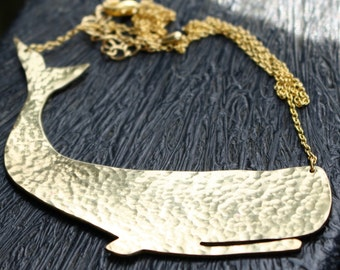 "Large Moby Whale Gold Necklace in Hammered Brass on a 16""-18"" gold plated chain"