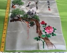 """Signed Antique Chinese silk embroidery Floral panel with 2 Cranes  19.5""""x 14""""  / 36 x 50 cmembroidered vintage"""