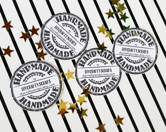 Custom Name Tags, Hand Made By Tags, Hangtags for Products, Personalized Jewelry Tags, 50 Print Your Business Tags