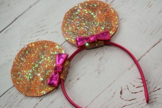 Orange and fuchsia pink glittery minnie mouse ears on aliceband - Baby / Toddler / Girls / Kids Headband / Hairband / Hair bow