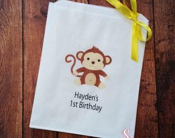 50 x Monkey Birthday white paper lolly bags