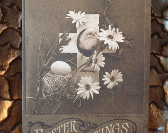 Vintage Chick, Daisies & Cross Easter Greetings Postcard - Circa 1910's - Postmarked - Great Vintage Condition!!