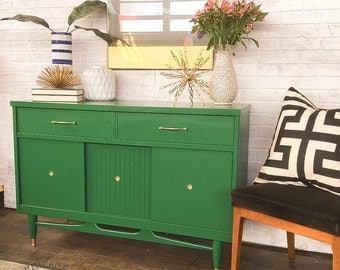 AVAILABLE: Green Painted MCM Buffet