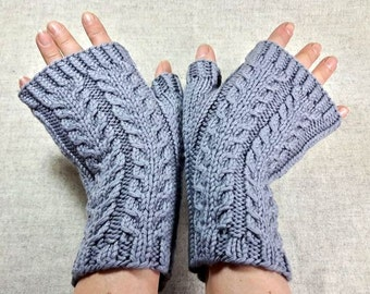 Fingerless Gloves grey, Organic Wool, handknitted Mittens, pure Wool, Gloves for Men