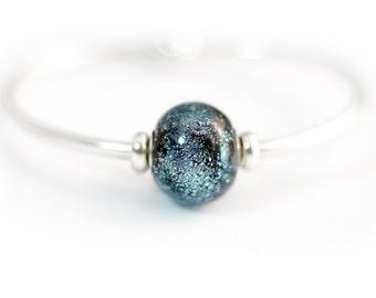 Galaxy Bracelet - Sterling Silver Bracelet - Lampwork Bracelet - Glass Bracelet - Murano Bracelet - Bangle Bracelet - Galaxy Collection