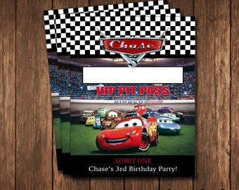 Disney Cars Party Pit Passes