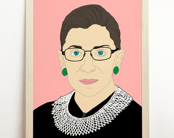 Supreme Court Justice Ruth Bader Ginsburg Art Poster Illustration Print Drawing Wall Hanging Colour Feminist Woman Decor Portrait States