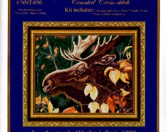 COUNTED CROSS STITCH Kit, moose, wildlife, Canadian, 14 x 11 inches, full kit,