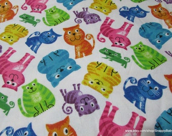 Flannel Fabric - Cats on White - 1 yard - 100 Percent Cotton Flannel