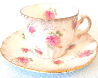 Charming Antique Collectible Small Cup and Saucer, Afternoon Tea Duo, Pink Roses, Floral Patterns, Cup and Saucer Duo, Child's Tea Duo