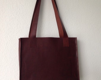 Brown leather shopper