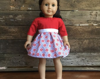 18 Inch Doll Dress, 3/4 sleeve, circles and flowers