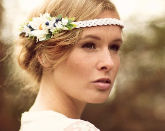 Wedding Flowercrown white-blue