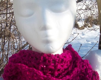MAGENTA Infinity Scarf ~ Cowl ~  With Sparkle!