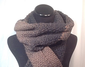 Taupe and Charcoal Ombré Crochet Scarf