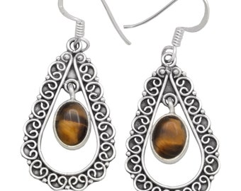 Tiger Eye Gemstone Earrings Solid 925 Sterling Silver Jewelry IE20161